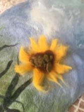 Needle felting sunflower